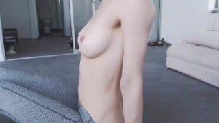 Sexy Busty Asian Girl In Yoga Pants Stripping On Webcam
