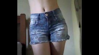 Sexy Petite Amateur Schoolgirl Teasing & Stripping On Cam Sex Show